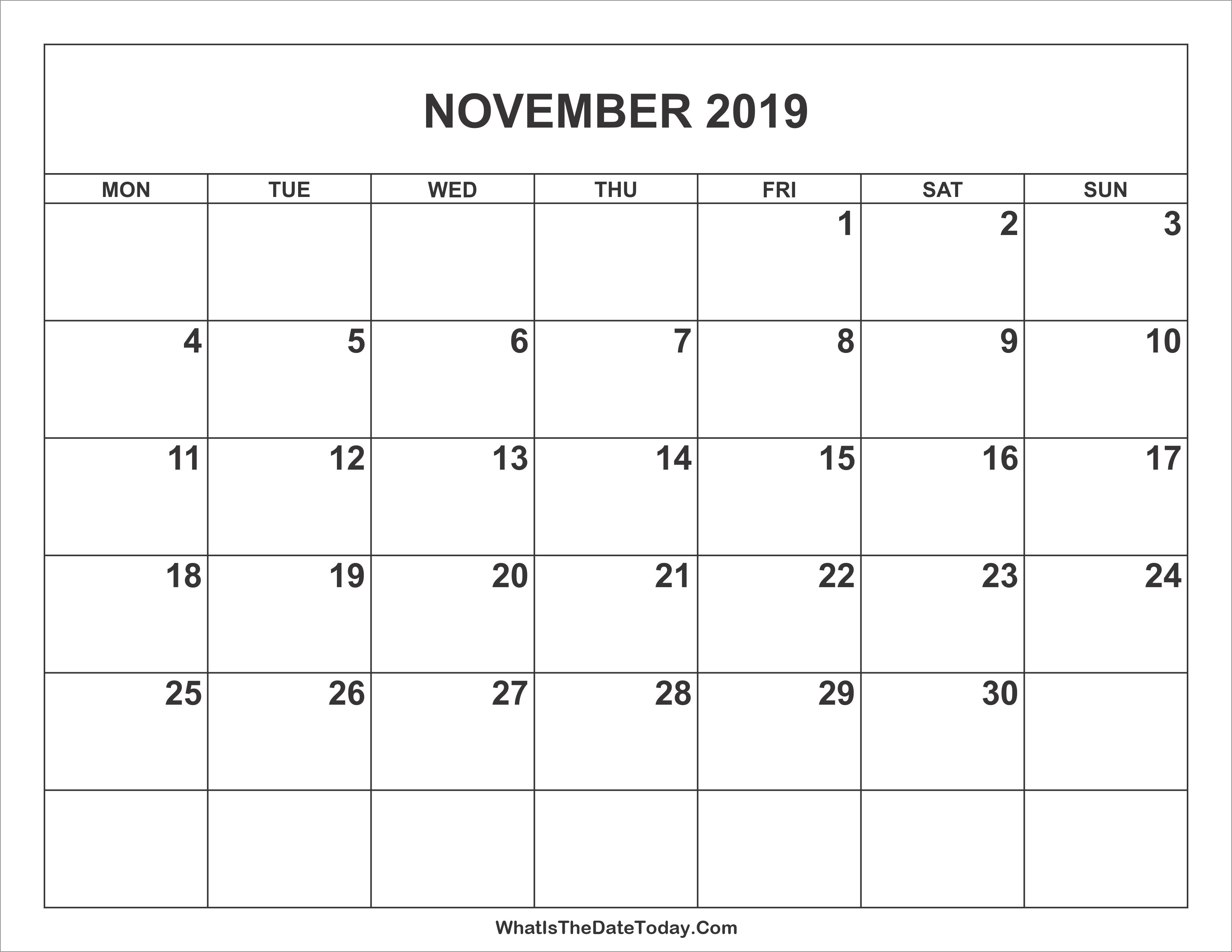 November 2019 Kalender bearbeitbare