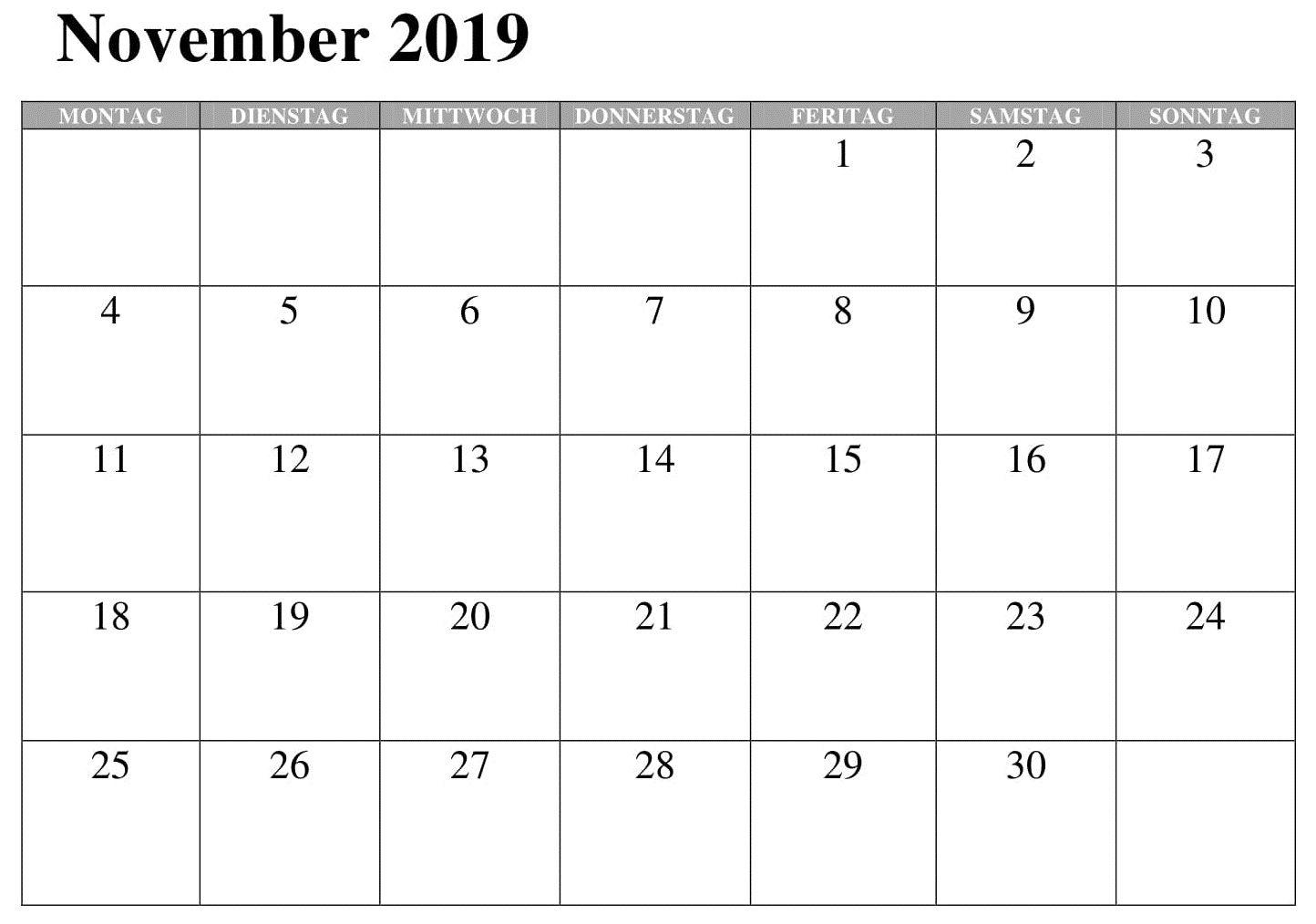 November 2019 Kalender