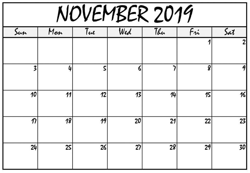 November 2020 Blank Calendar Template