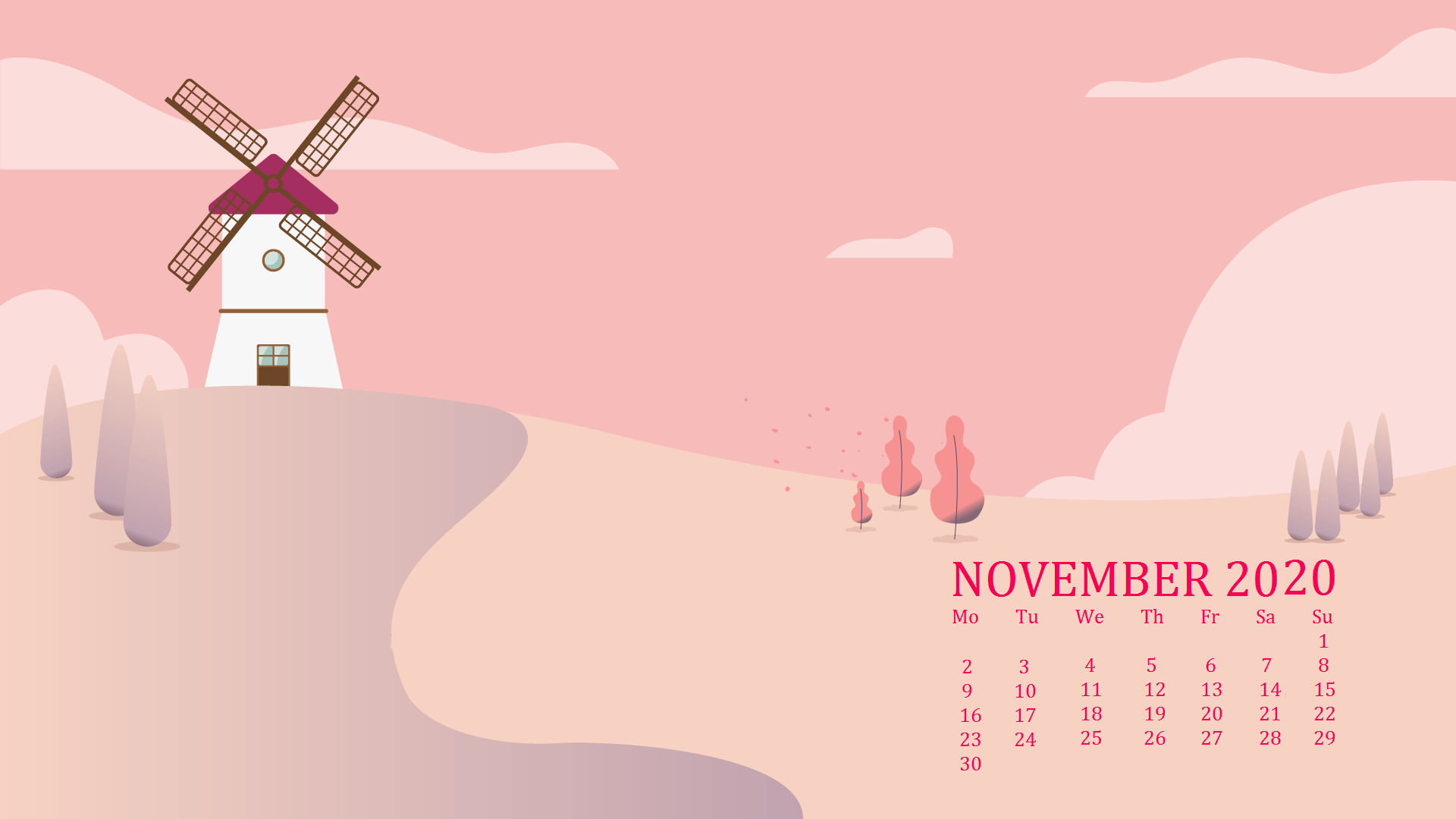 November 2020 Calendar Screensaver
