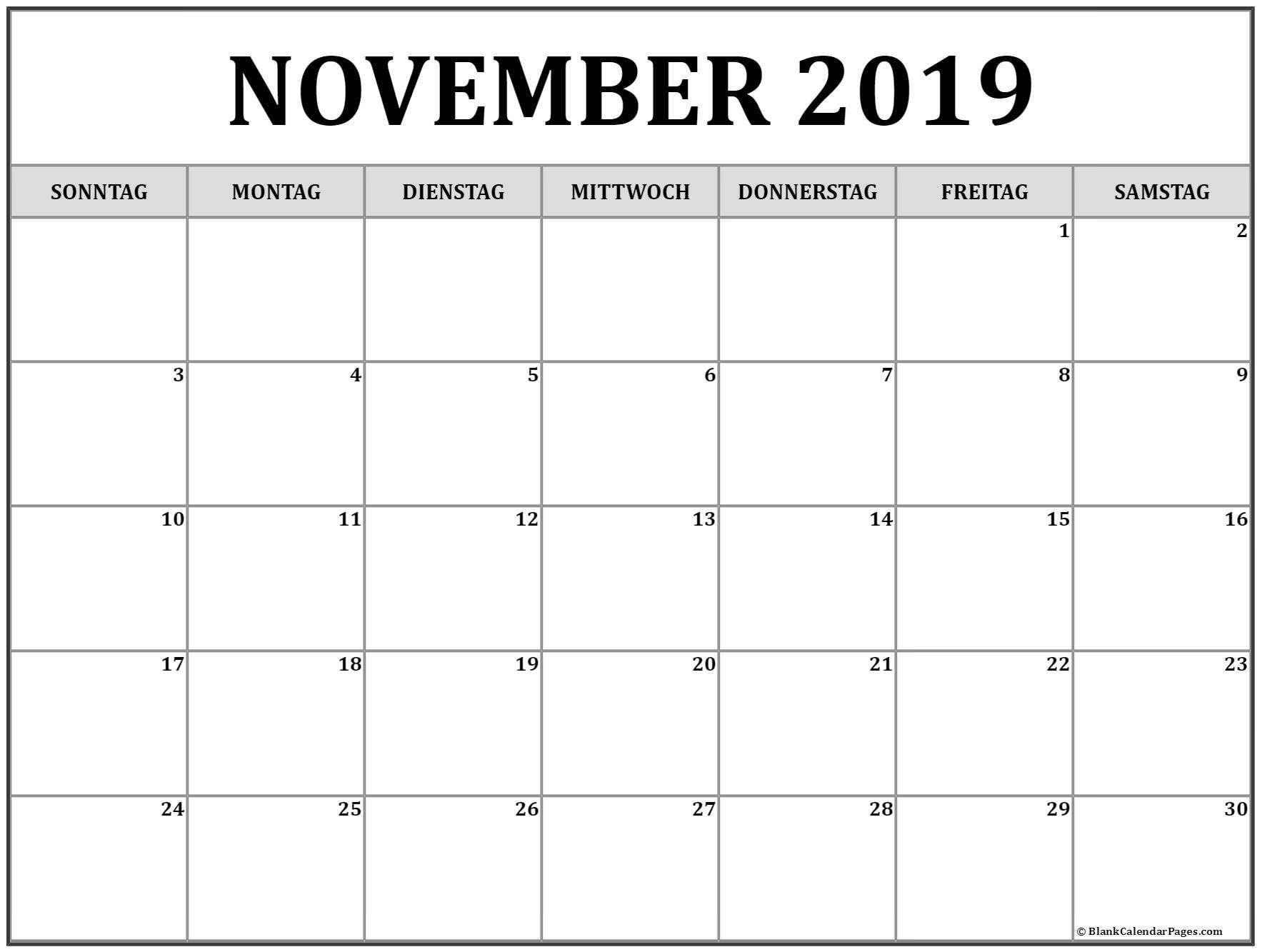 November Kalender 2019 Vorlagen