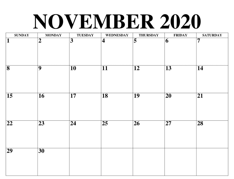 November 2020 Kalender mit Feiertagen