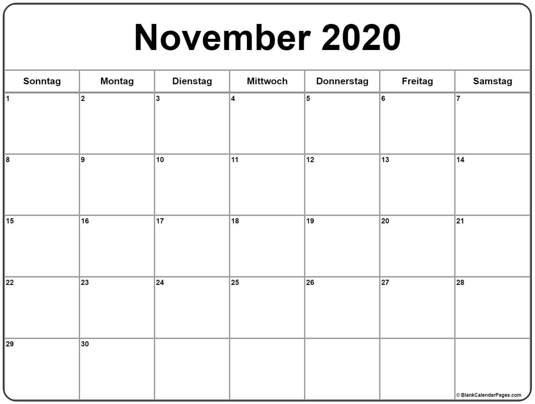 November Kalender 2020
