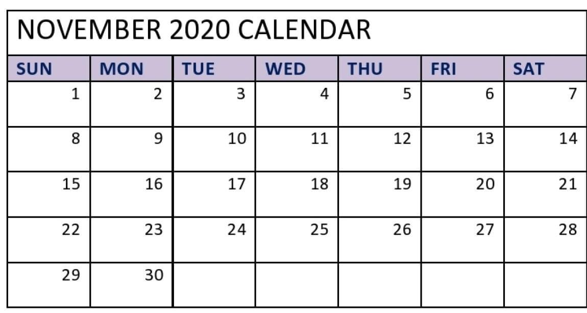 Print Blank November 2020 Calendar Page Landscape