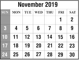 Printable November 2019 Fillable Calendar Blank