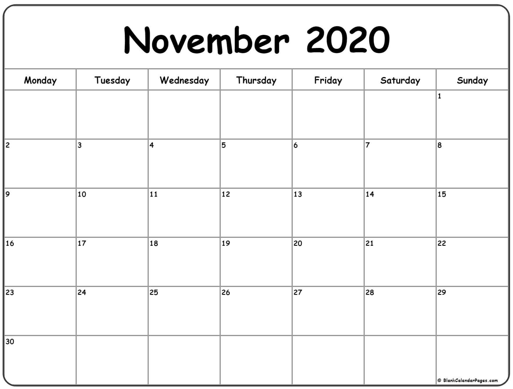 Druckbare Vorlage für den November kalender 2020
