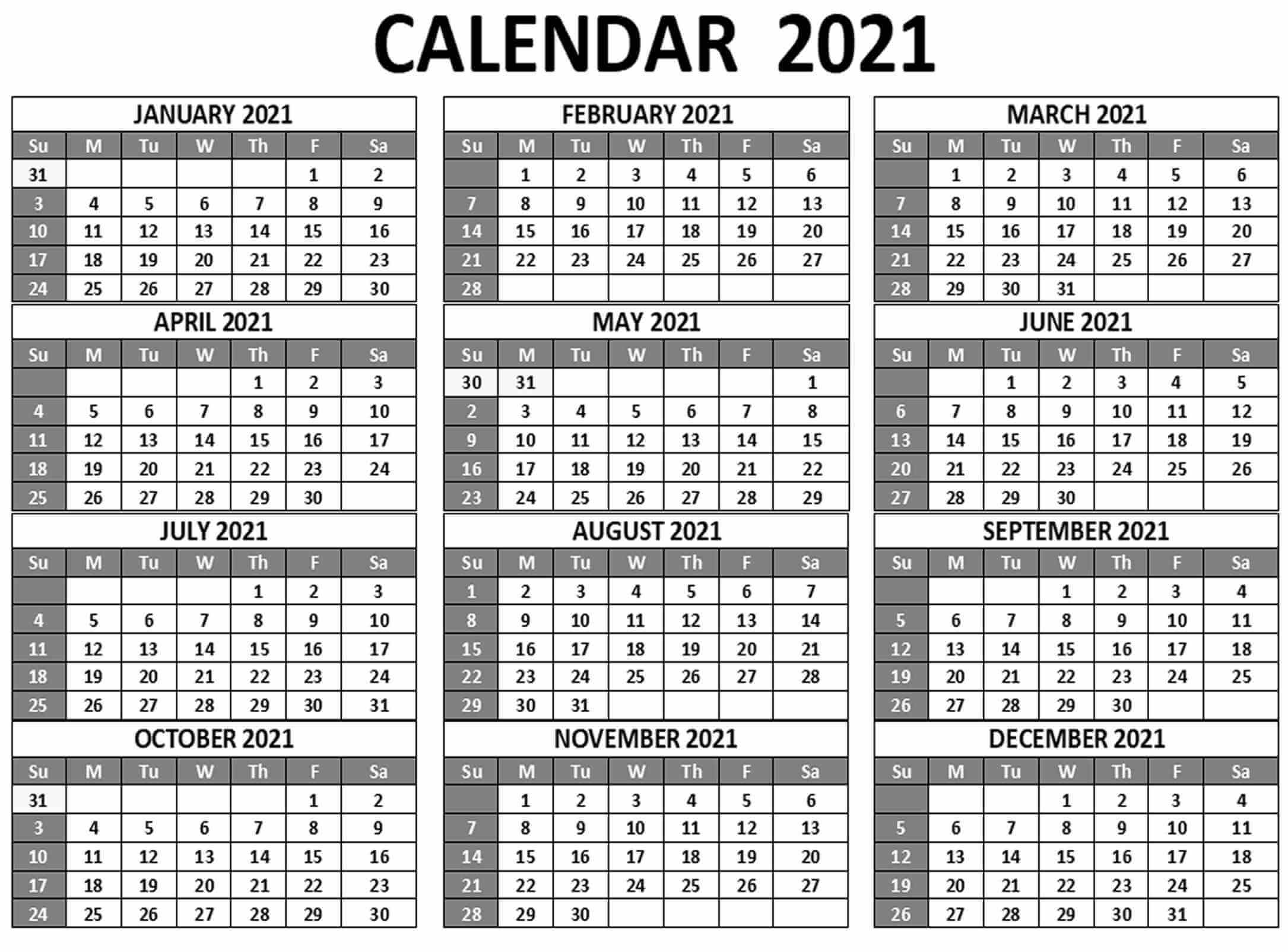 2021 12 Month Calendar One Page - Calendars Free Print