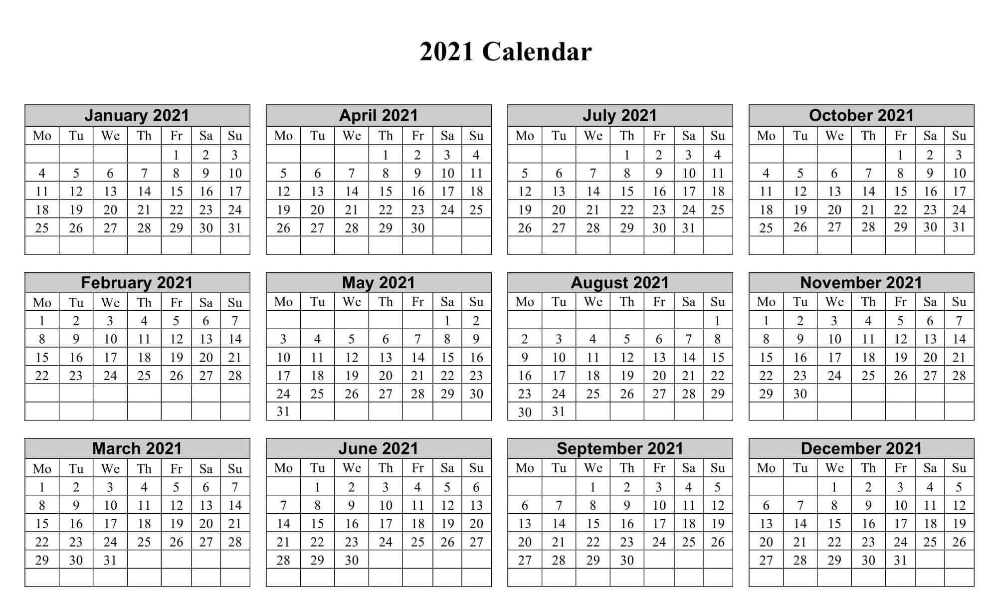 2021 12 Month Printable Blank Calendar