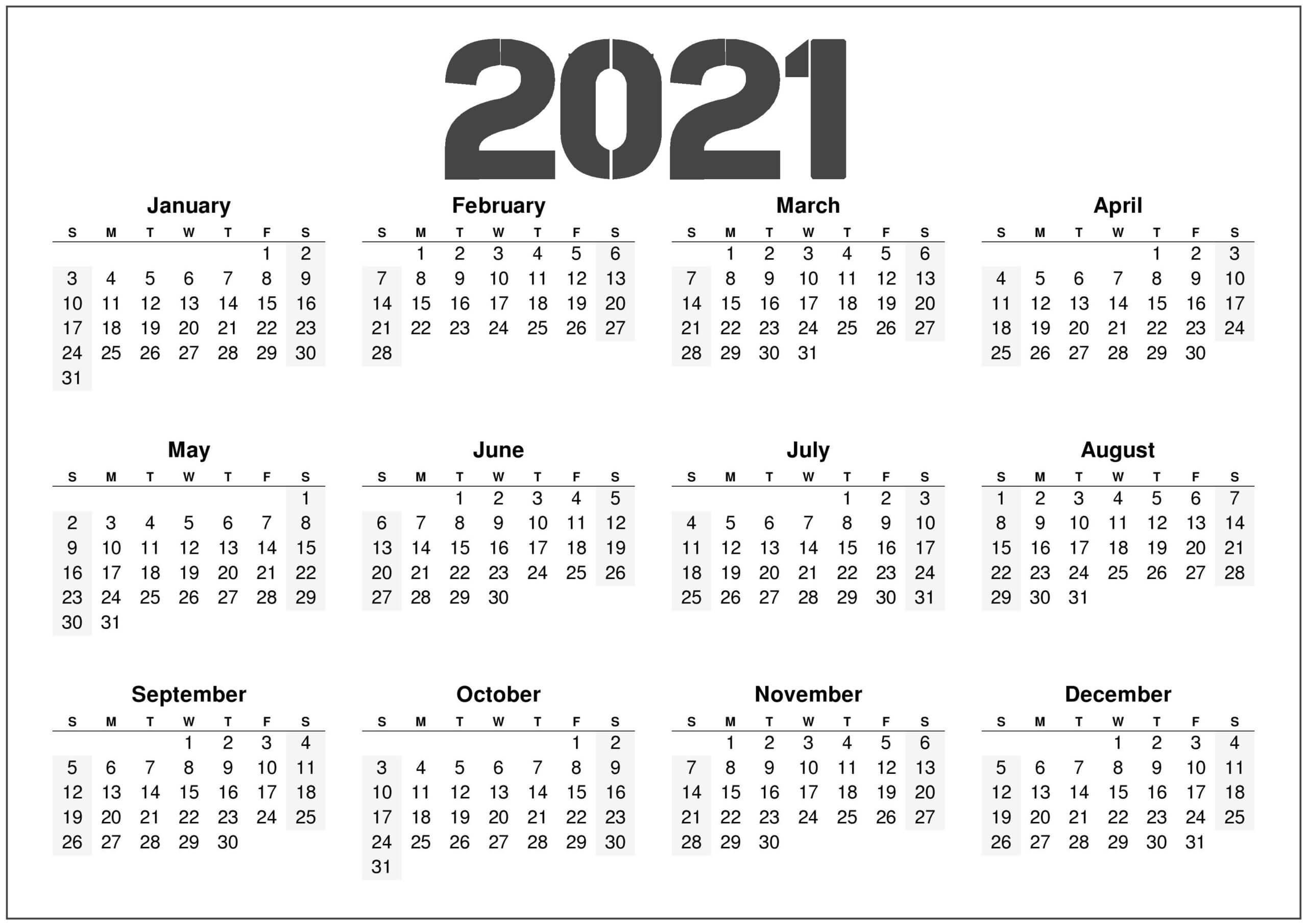 2021 Printable 12 Month Calendar Template