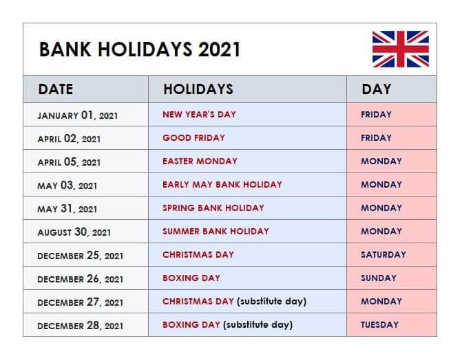 2021 UK Bank Holidays Calendar