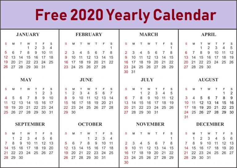 Blank Calendar 2020 Template Online Download