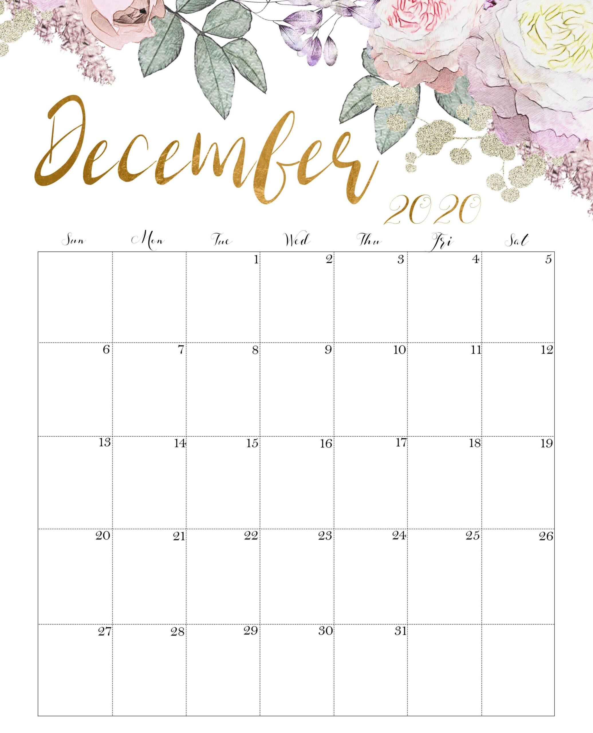 Floral December 2020 Calendar Blank