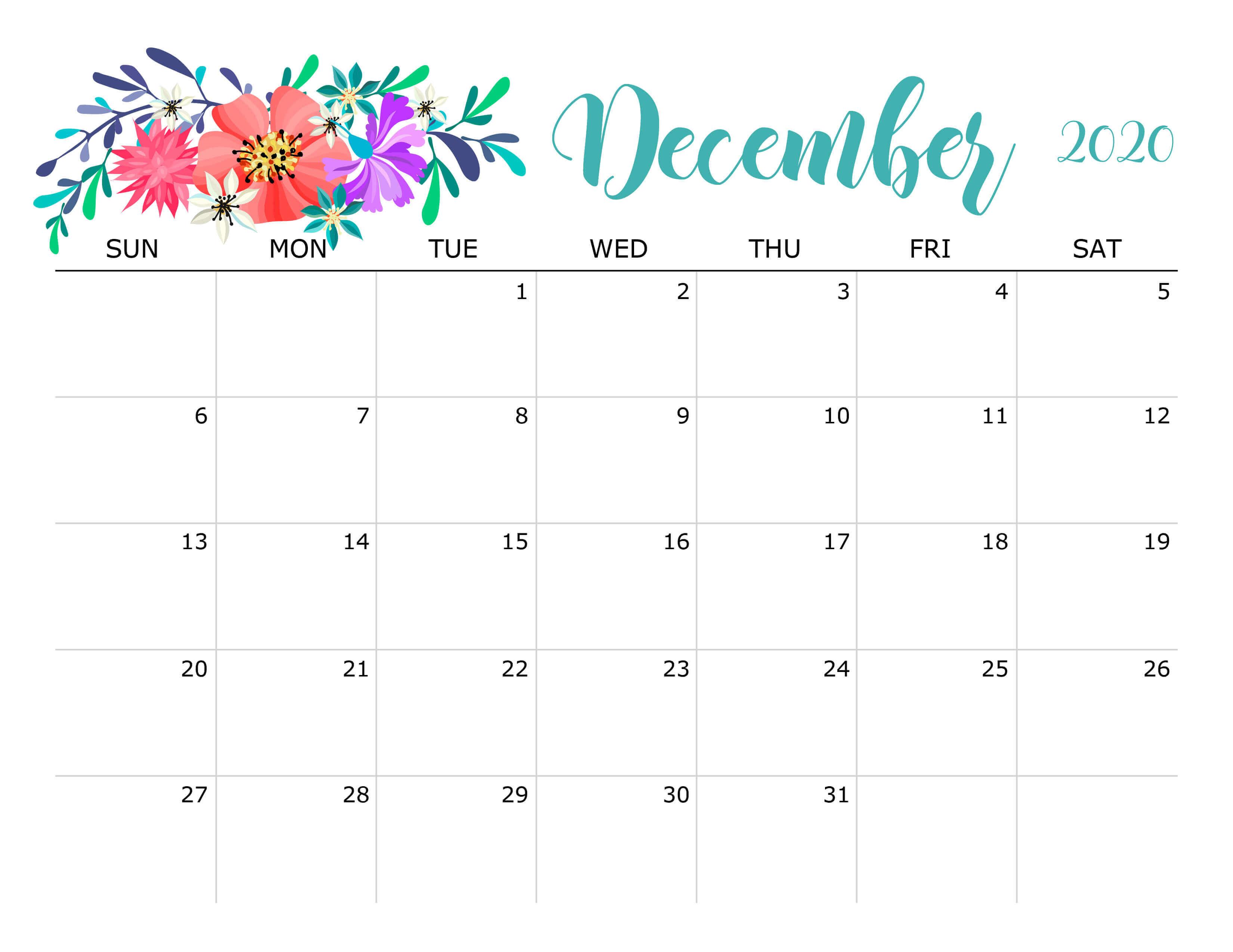 Floral December 2020 Calendar Planner
