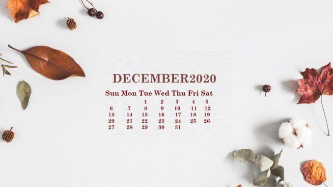 Floral December 2020 Calendar Wallpaper for Desktop