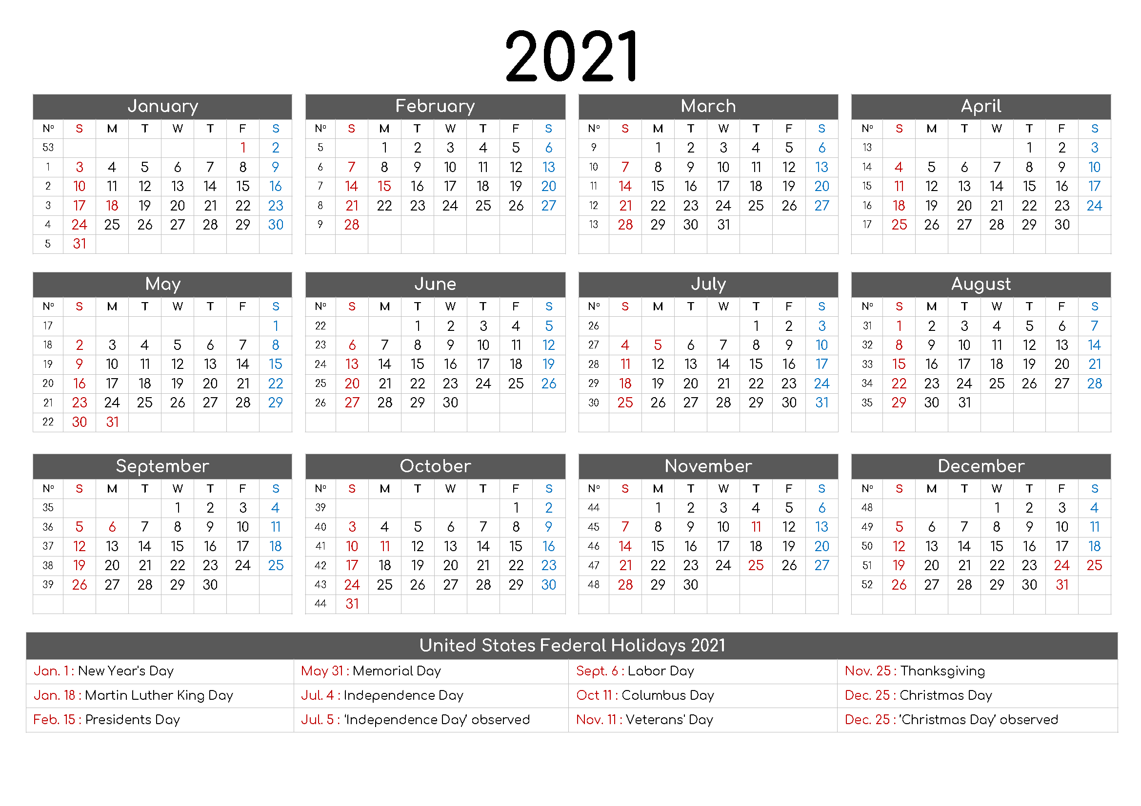 Free Printable 12 Month Calendar 2021 with Holidays