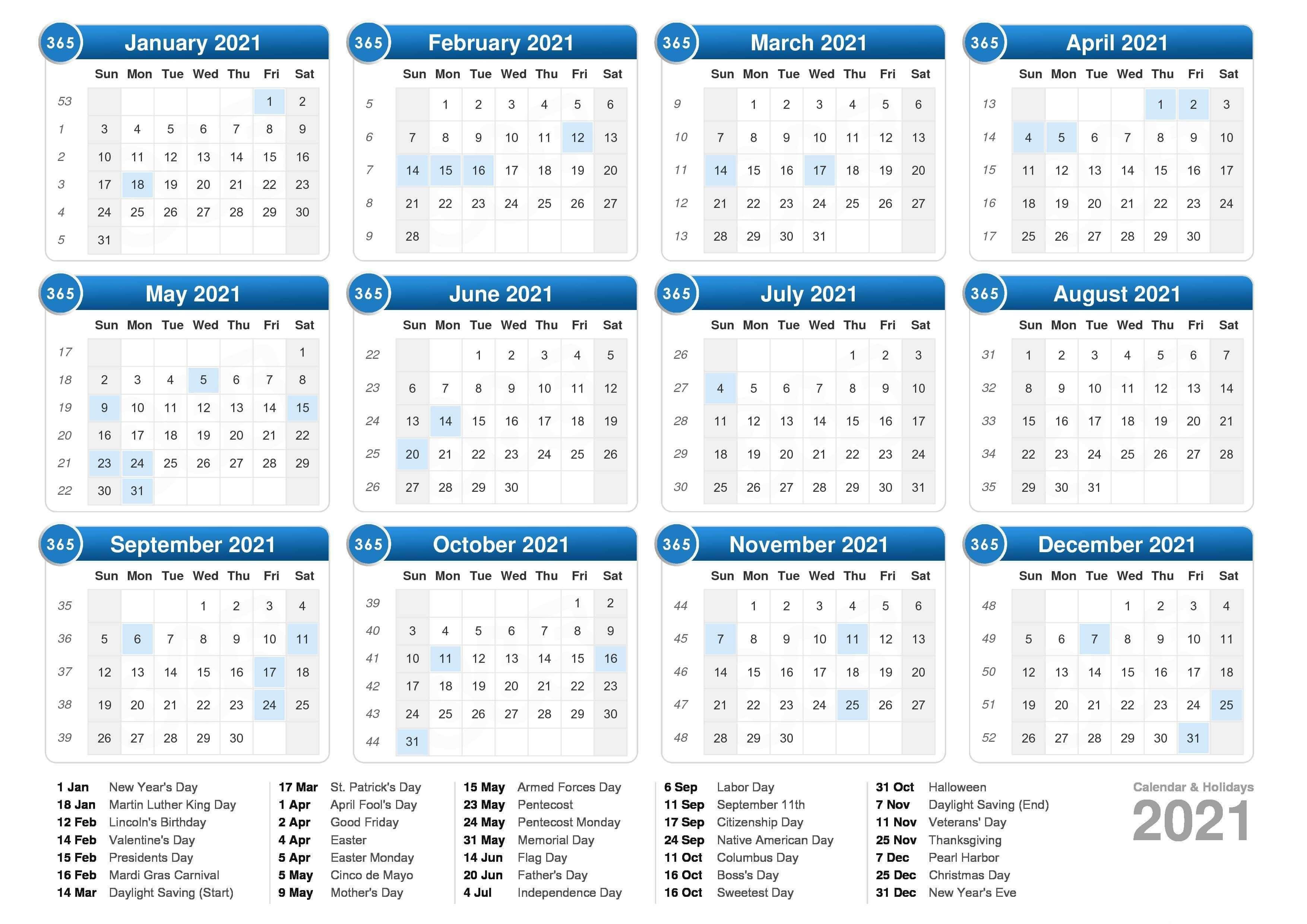 Free Printable Calendar 2021 USA Template