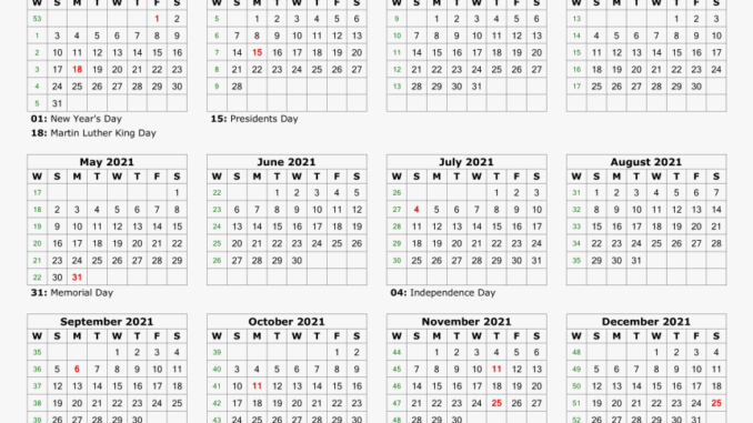 Holidays Calendar 2021 Printable