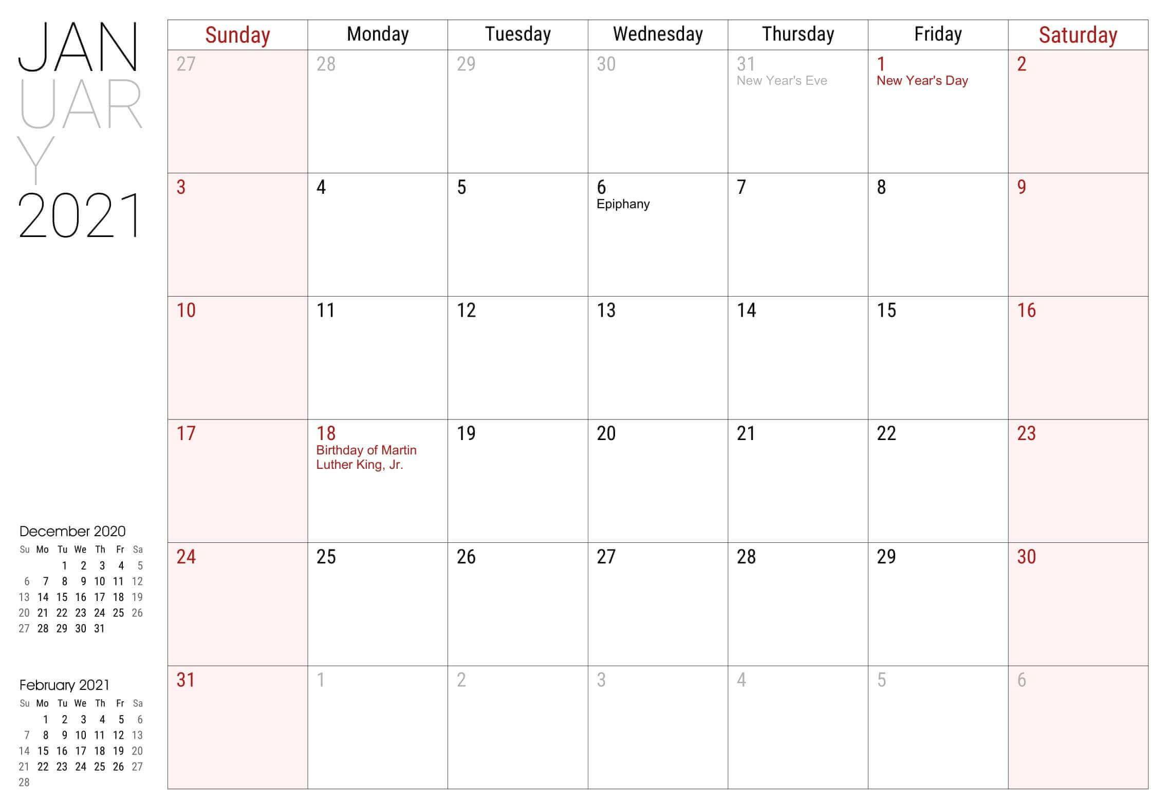 January 2021 Calendar with Holidays Printable Templates