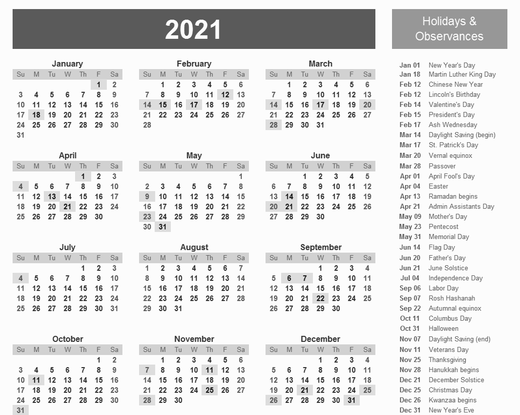 Monthly Calendar 2021 Printable