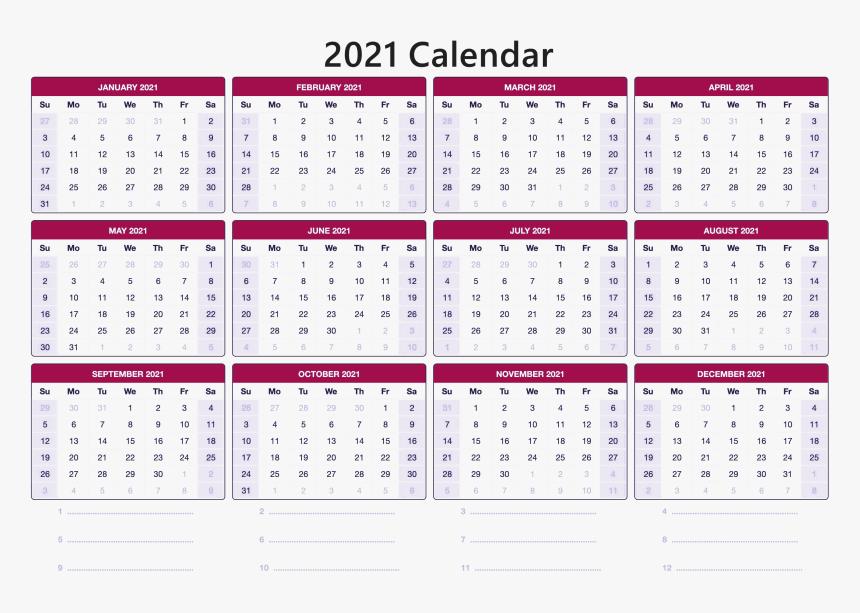 Printable 2021 Calendar Online