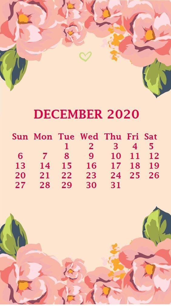 iPhone December 2020 Calendar Wallpaper