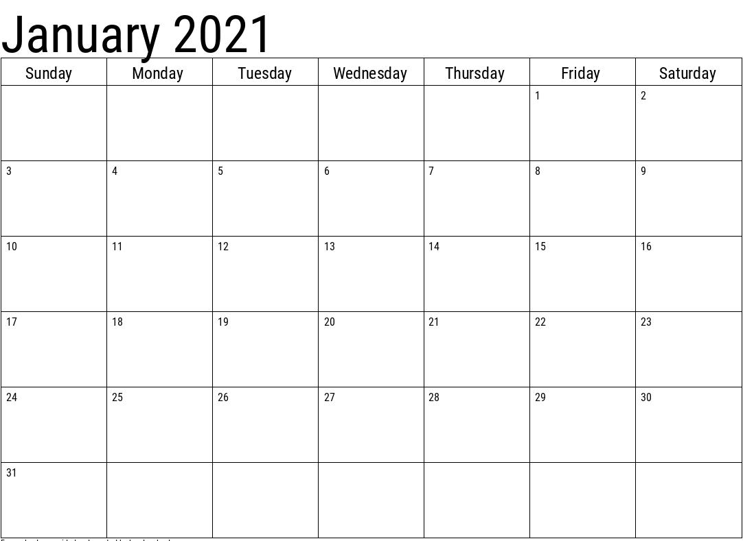 2021 January Blank Calendar