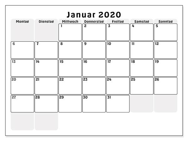 Blank Januar 2020 Kalender