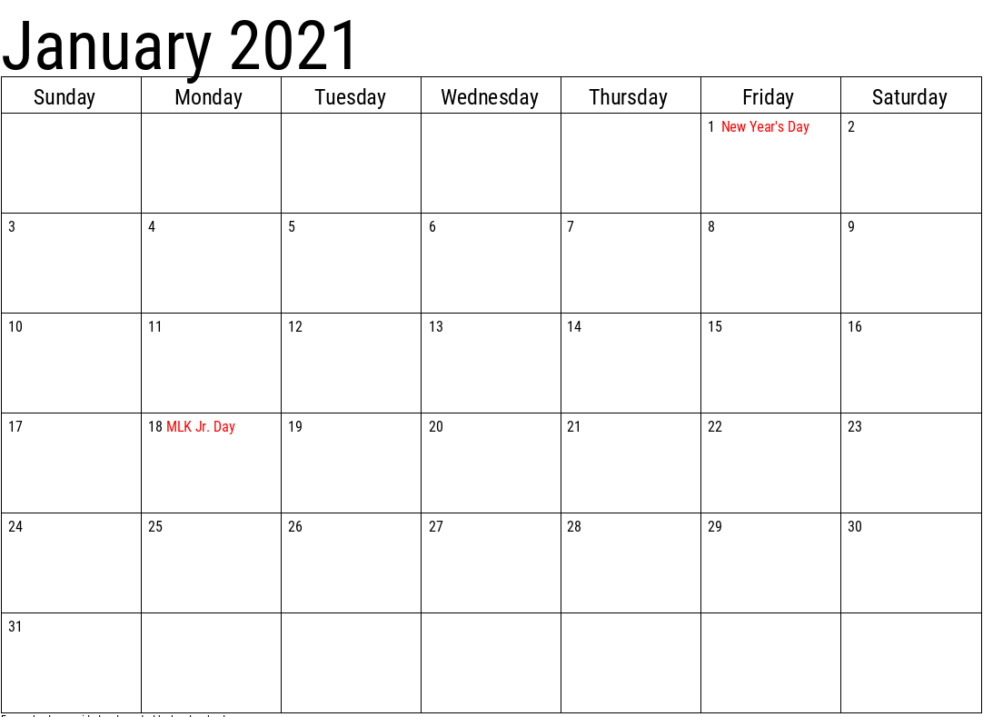 Editable January 2021 Calendar Word
