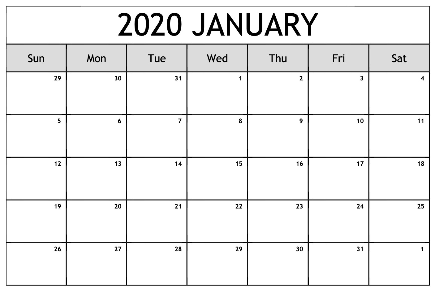 Editable January Calendar 2020 Template