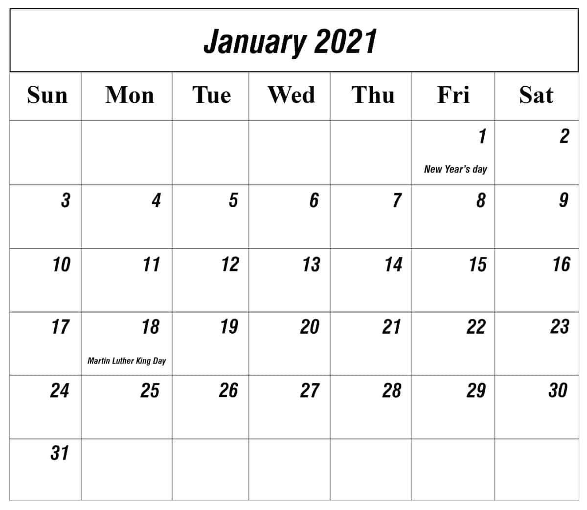 Editable January Holidays Calendar 2021