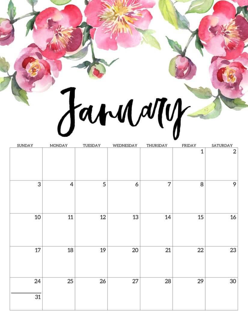 Floral January Editable Calendar 2021