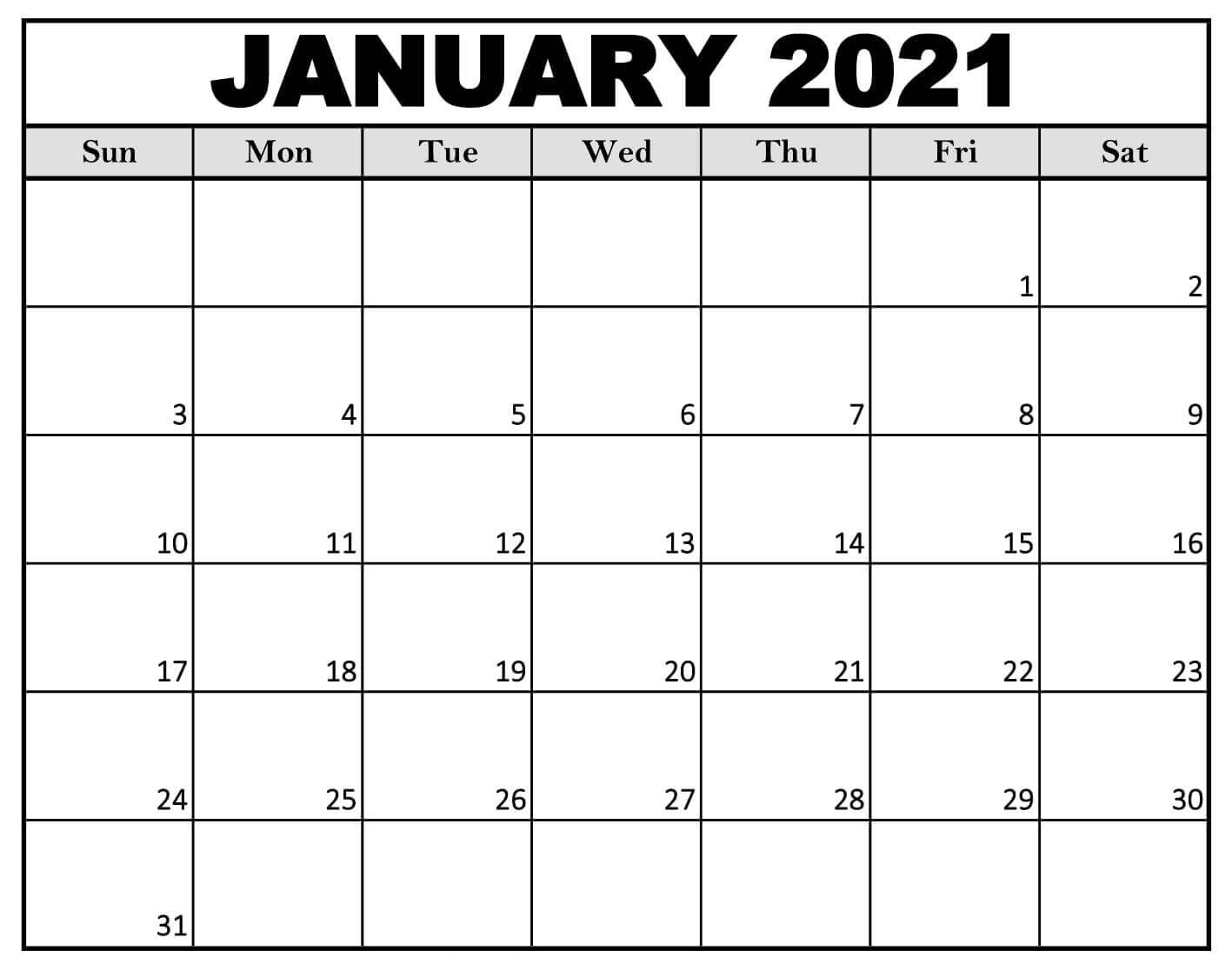 Free Printable January 2021 Blank Calendar