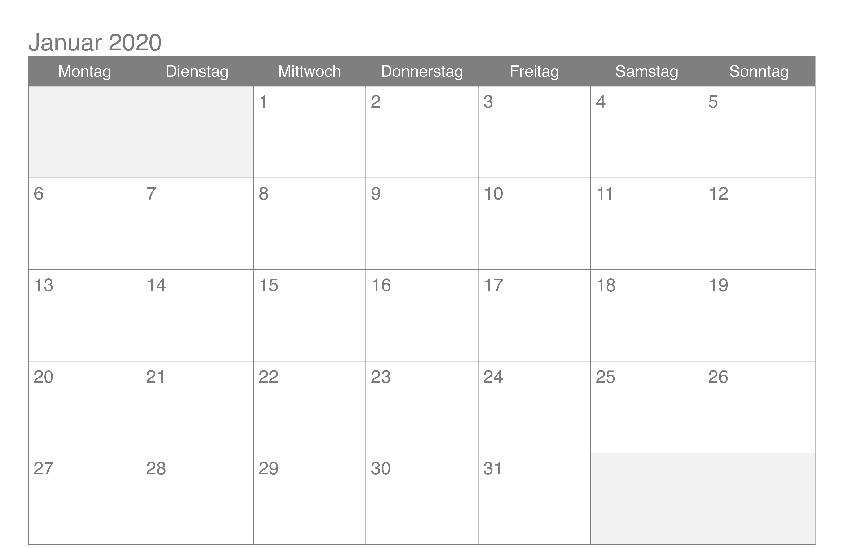 Januar 2020 Kalender Excel