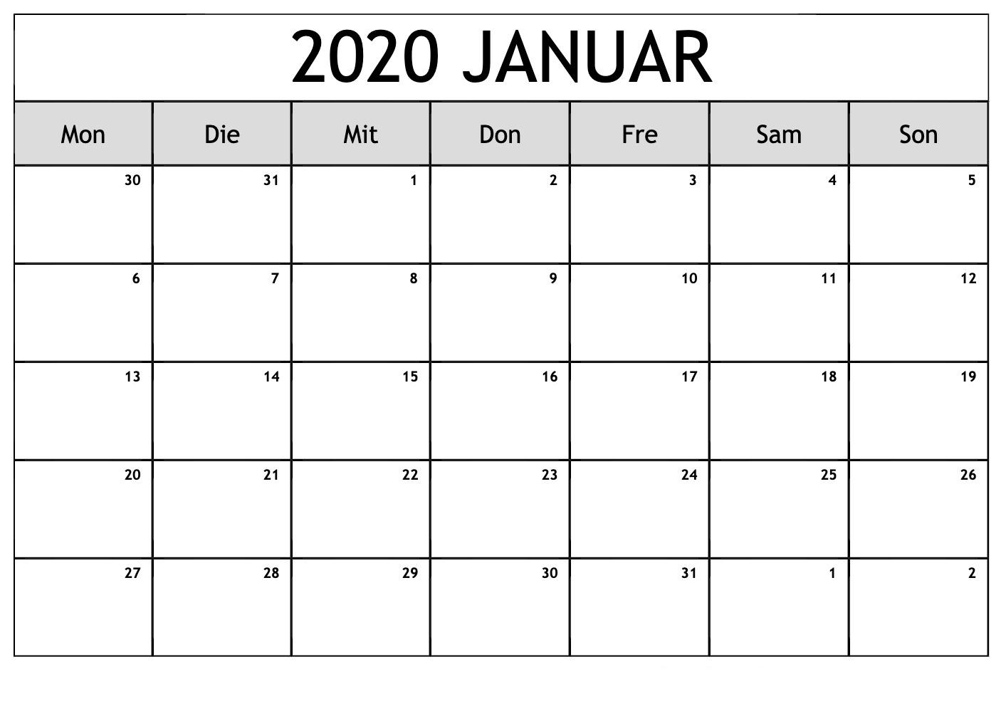 Januar 2020 Kalender PDF