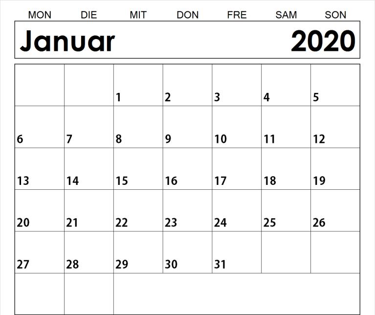Januar 2020 Kalender mit Notizen