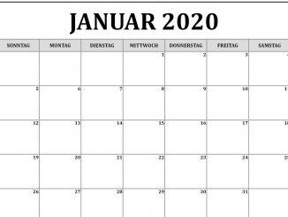 Januar 2020 Kalenderwort