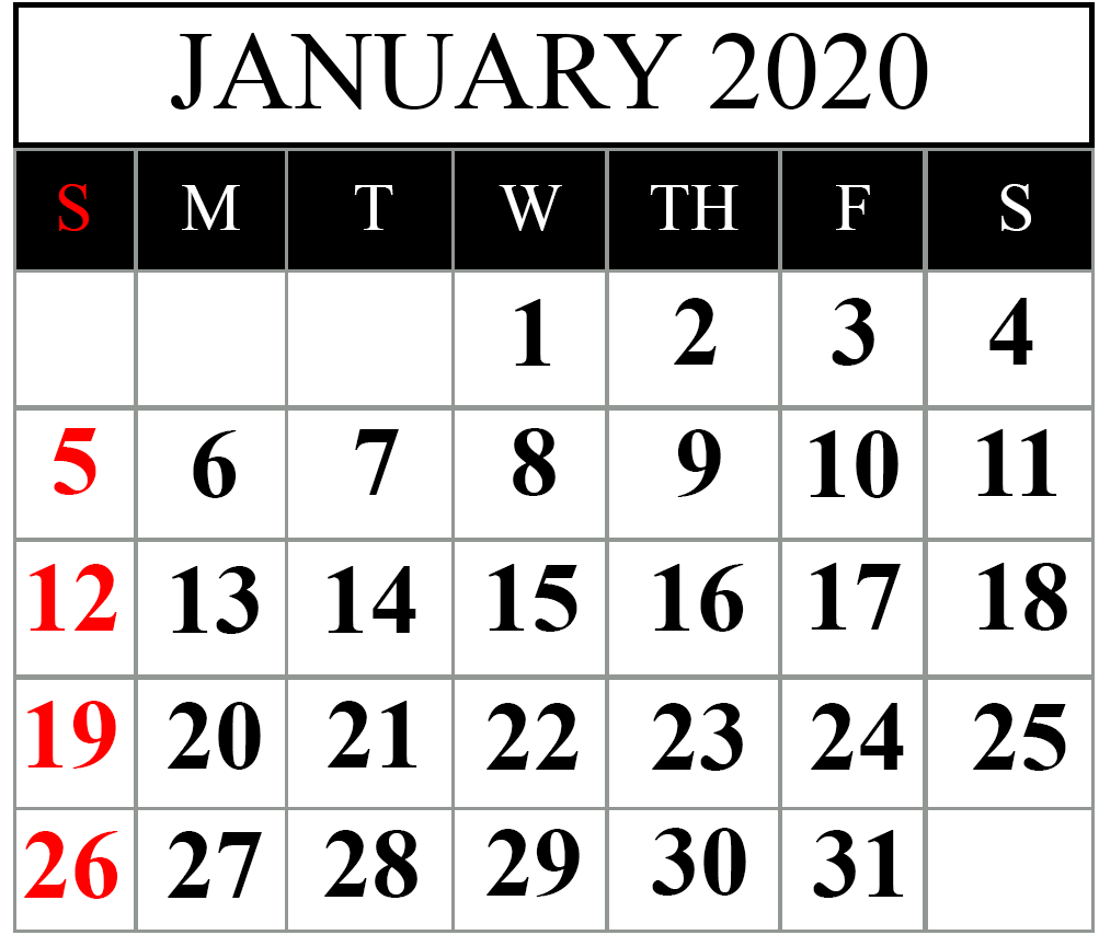 January 2020 Calendar Editable Template
