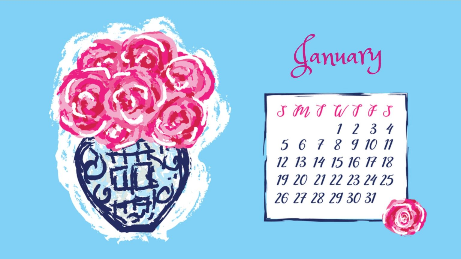 January 2020 Flower Calendar Wallpaper