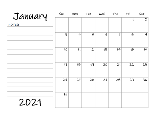 January 2021 Printable Calendar Template