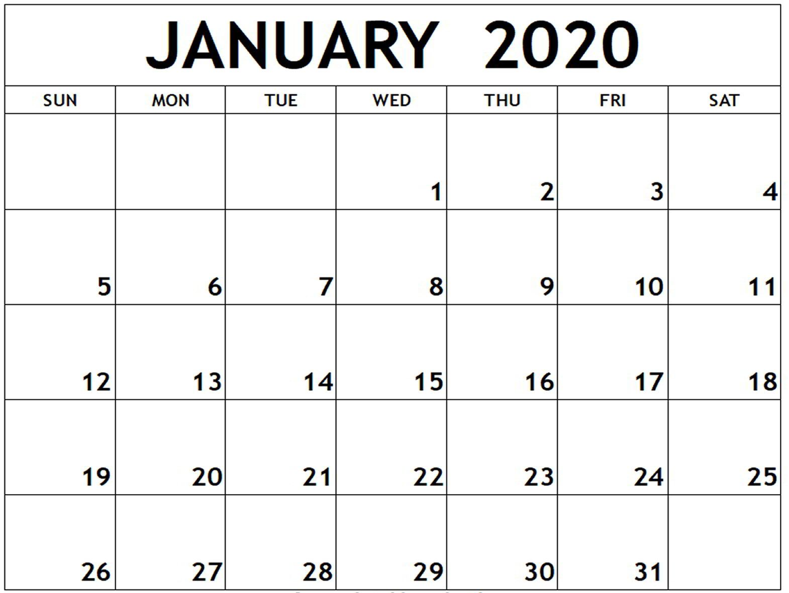 January Calendar 2020 Editable Template