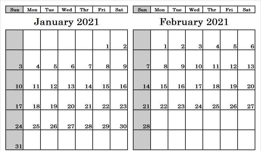 January February 2021 Calendar Blank