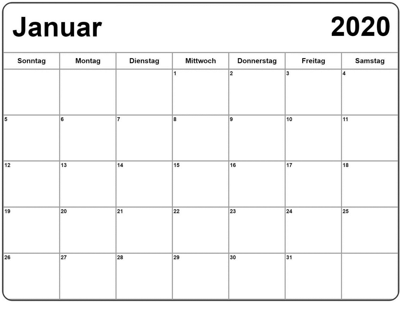 Kalender Januar 2020 Zum Ausdrucken Bild