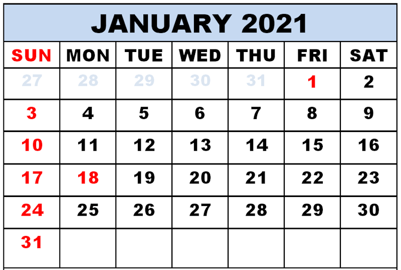Monthly Blank January 2021 Calendar Template