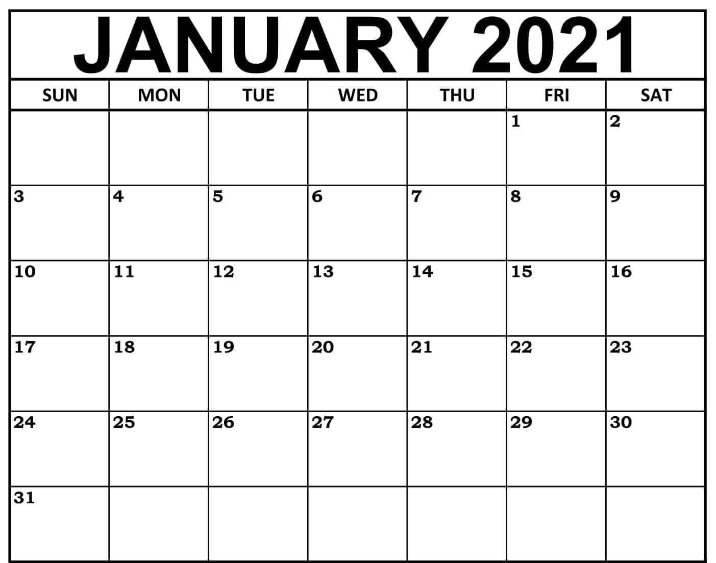 Printable 2021 January Calendar Editable Template.