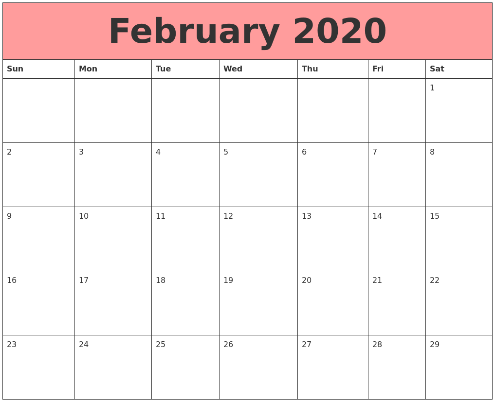 2020 February Calendar Cute