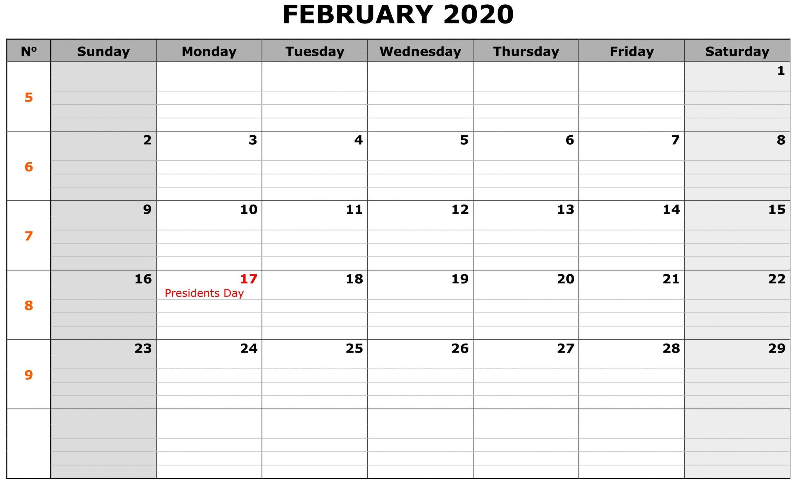 Blank 2020 Editable February Calendar