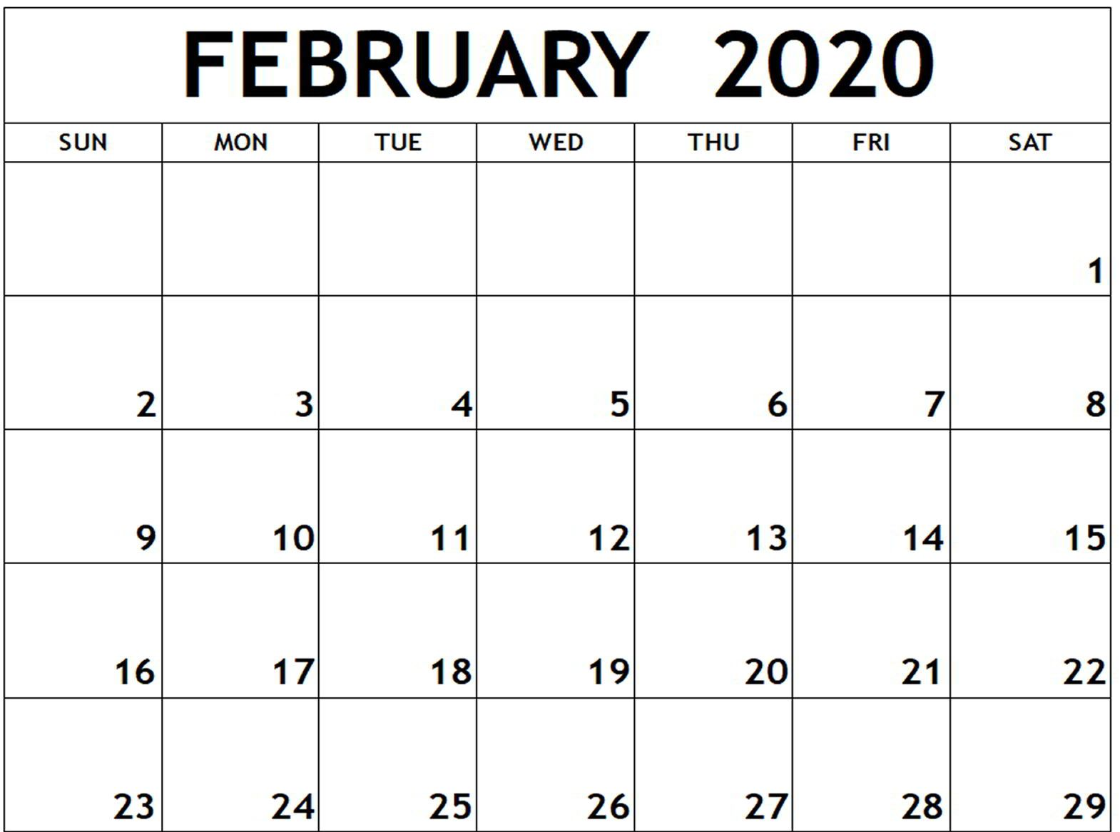 Blank 2020 February Calendar Fillable Templates