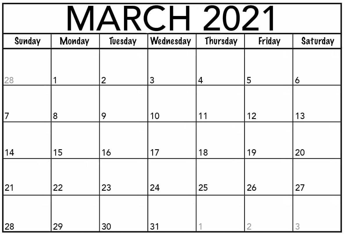 Blank Calendar For March 2021