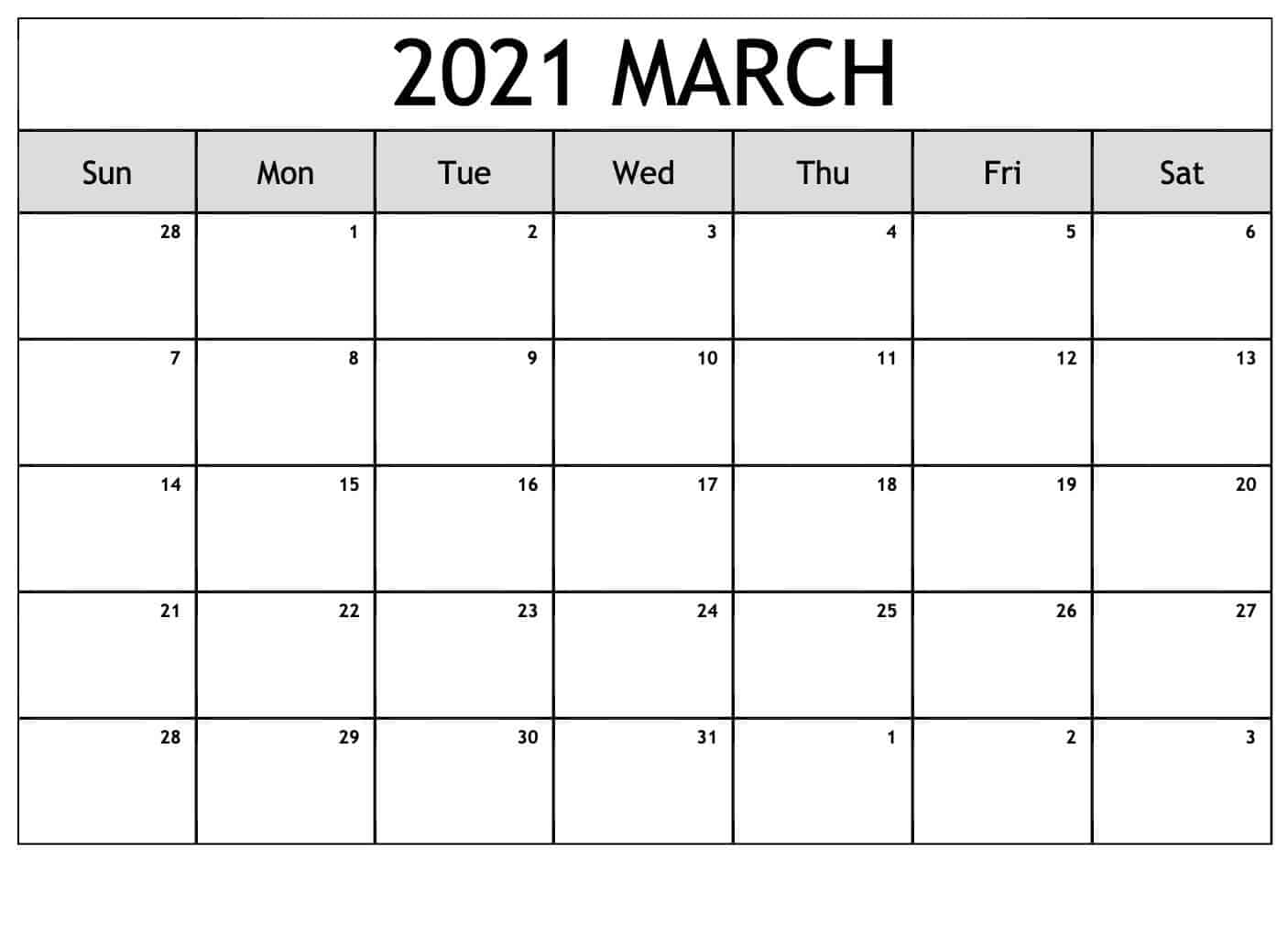 Blank Calendar Pages March 2021