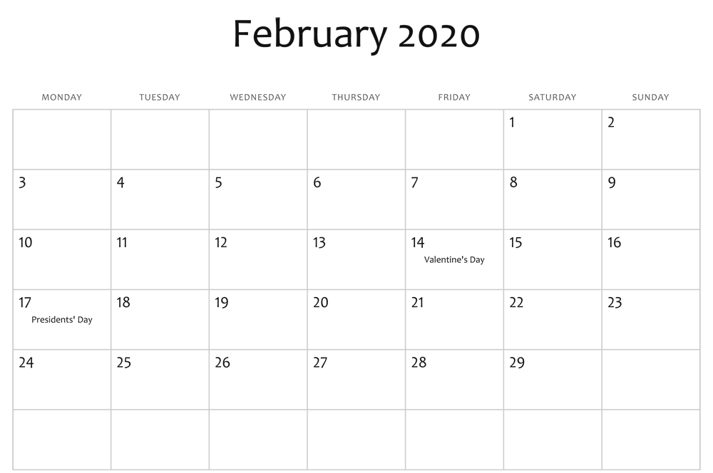 Blank February 2020 Holidays Calendar Printable